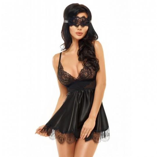 Eve Babydoll et Masque - Noir