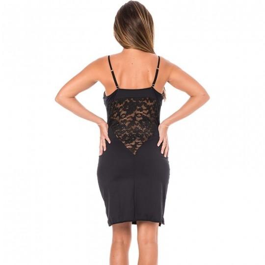 Robe cocktail empiècement dentelle - Noir