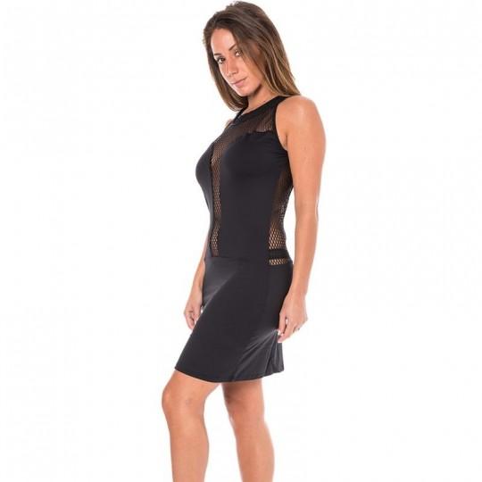 Robe cocktail dos et décolleté résille - Noir