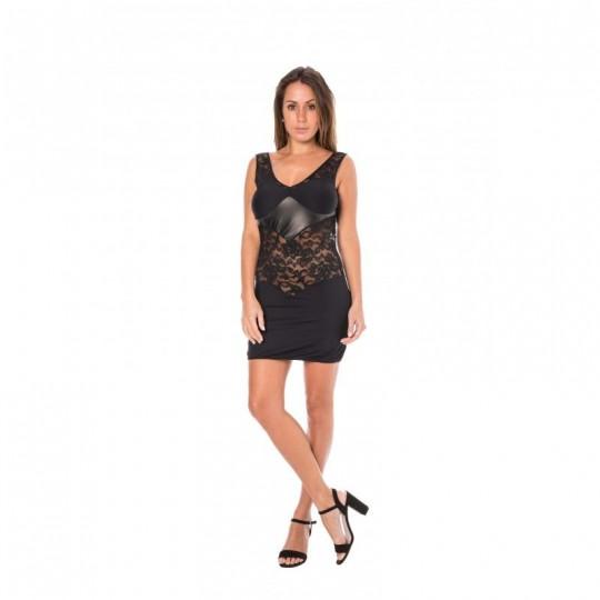 Robe cocktail dentelle asymétrique - Noir