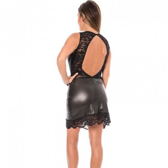 Robe cocktail simili cuir - Noir
