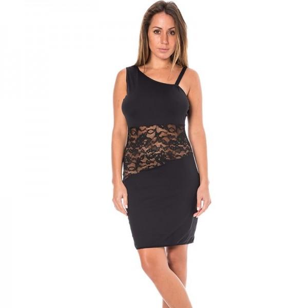 Robe cocktail asymétrique - Noir