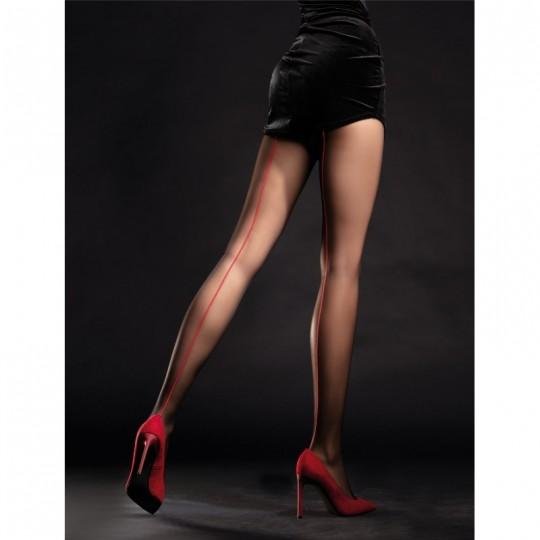 Unique Collants 20 DEN - Noir et Rouge