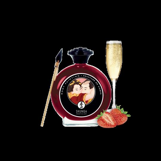 Peinture de corps embrassable - Vin pétillant à la fraise